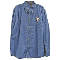 Shih Tzu Embroidered Mens Denim Shirts