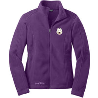 Samoyed Embroidered Ladies Fleece Jackets