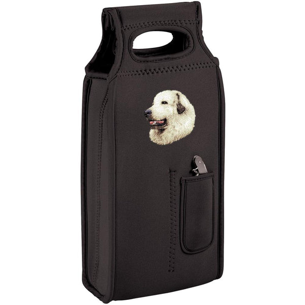 Embroidered Samba Wine Totes Black  Great Pyrenees D27
