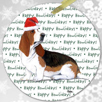 "Basset Hound ""Happy Howlidays"" Ornament"