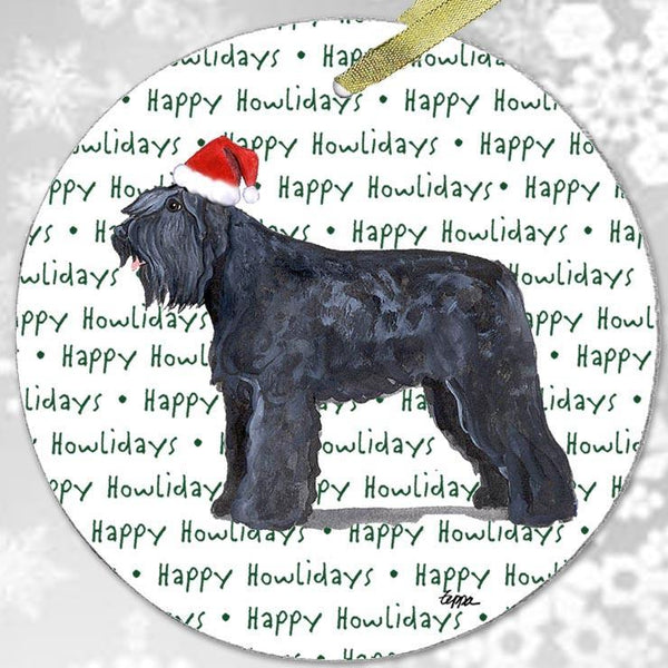 "Bouvier des Flandres ""Happy Howlidays"" Ornament"