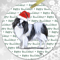 "Japanese Chin, Black and White ""Happy Howlidays"" Ornament"