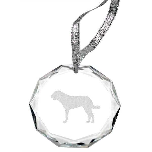 Anatolian Shepherd Laser Engraved Round Facet Crystal Ornament