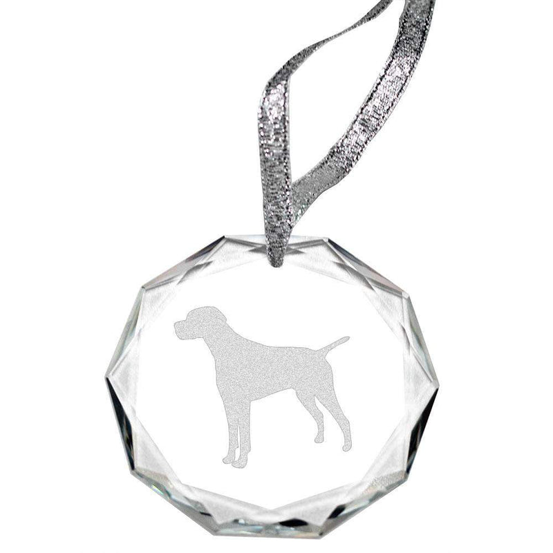 Pointer Laser Engraved Round Facet Crystal Ornament