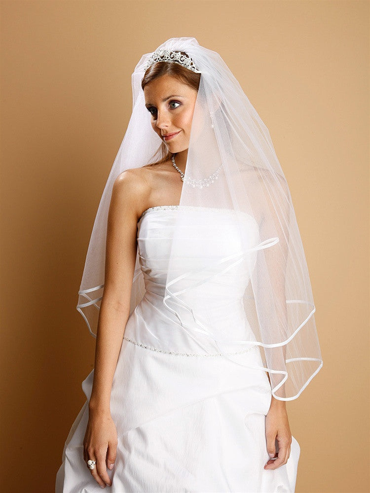 2-Tier Circular Cut Wedding Veil with Folded Satin Ribbon Edging 1546V