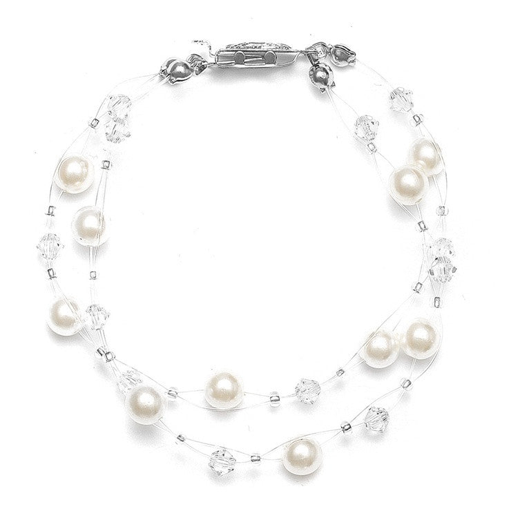 2-Row Pearl & Crystal Bridal Illusion Bracelet - Ivory/Clear 235B-I-CR-S