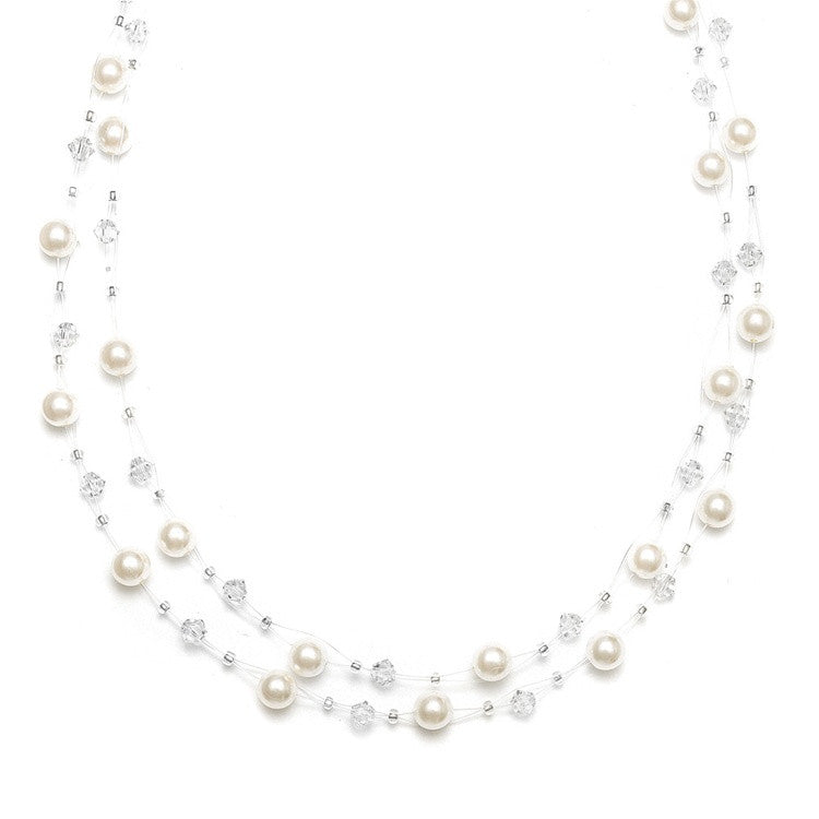 2-Row Pearl & Crystal Bridal Illusion Necklace - Ivory/Clear 235N-I-CR-S