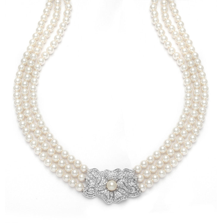 3-Row Pearl & Cubic Zirconia Vintage Wedding Necklace 3826N