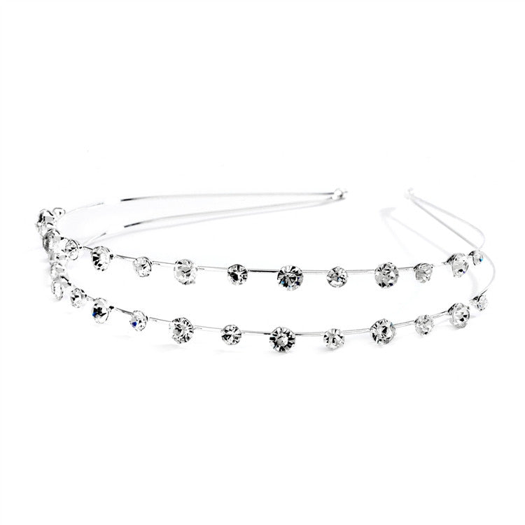 2-Row Prom or Wedding Headband with Round Crystals 4216HB