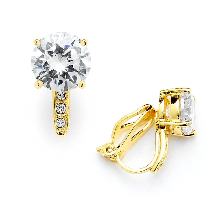 2.0 Ct. CZ Solitaire Clip-On Stud Earrings (8mm) with 14k Gold Plated Pave Accents 4558EC-G