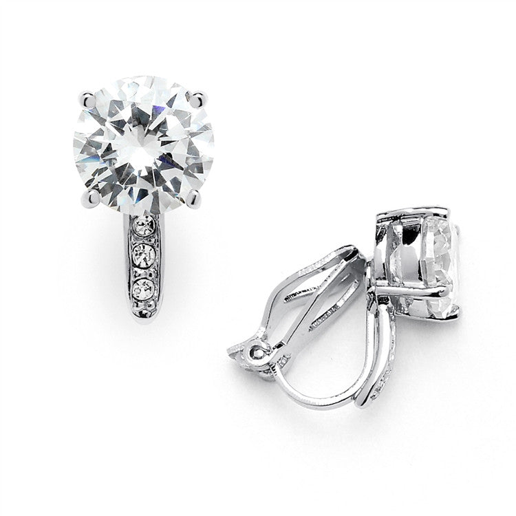 2.0 Ct. CZ Clip-On Stud Earrings (8mm) with Platinum Plated Pave Accents 4558EC-S