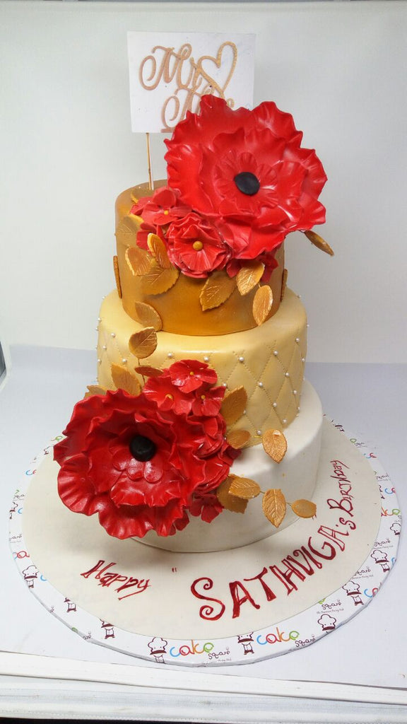 Golden cake with flowers 9kgwc120
