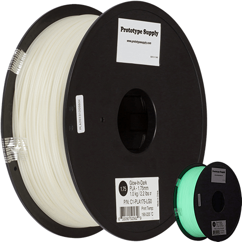 Prototype Supply 1.75mm PLA Green Glow in the Dark 3D Printing Filament, 1kg (2.2 pounds)