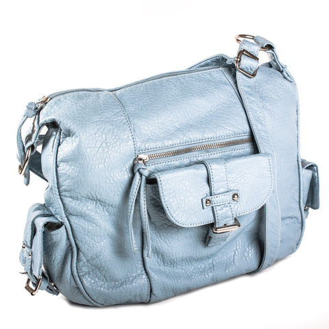 """Cinema"" Blush, Bronze, Fuchsia, Pale Blue, Pale Green Croc Texture Shoulder Bag by Bueno - lithyc.com"