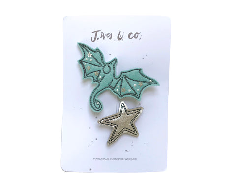 Aqua + Silver Dragon Clips - Baby Jives Co