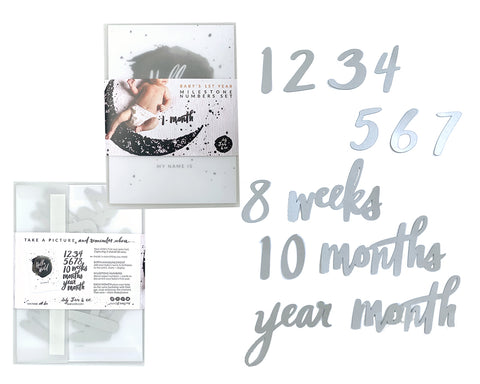 Milestone Numbers Set - Silver Cardstock - Baby Jives Co