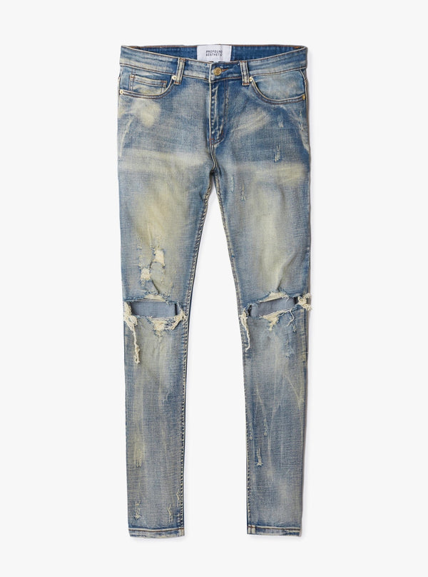 earth wash destroyed distressed denim jeans by profound aesthetic