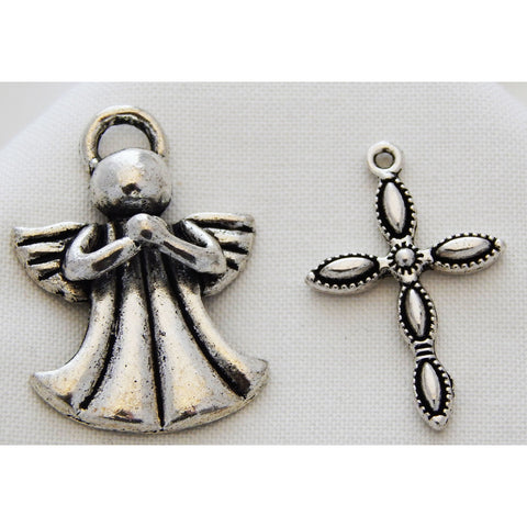 Charms Silver Toned Angels or Crosses - buy from J G Creations (Australia)