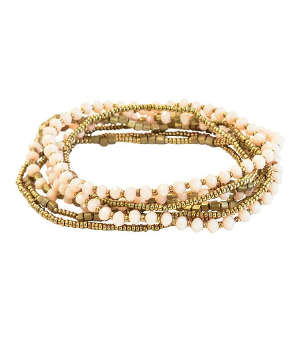 Handcrafted Blush and Metal Beaded Stacked Bracelets