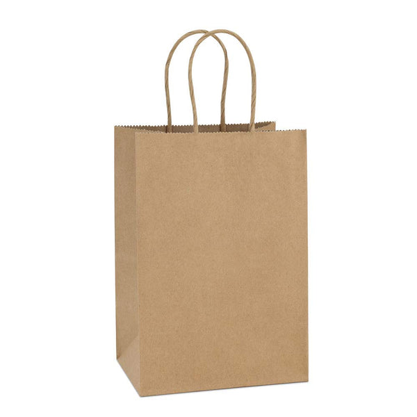 "(100 Pack) Brown Kraft Paper Bags with Handles, 5.25"" x 3.75"" x 8"" - GeorgiaBags"