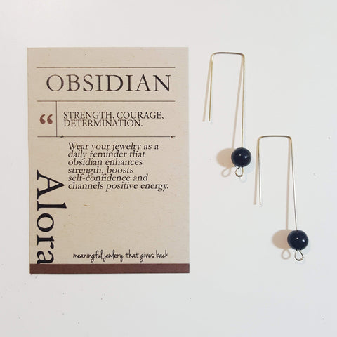 Strength, Courage, Determination | Geometric Earrings | Obsidian Gemstone - Alora Boutique