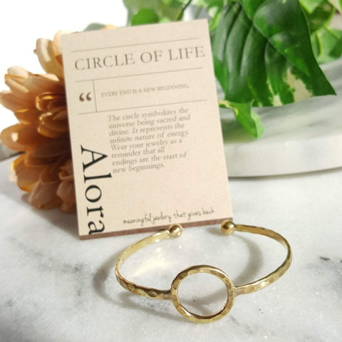 Circle of Life | Open Sphere Bracelet | Raw Brass - Alora Boutique - Jewelry with meaning that gives back fashion for good