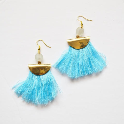 Fan Fringe Earrings | Blue - Alora Boutique - Jewelry with meaning that gives back fashion for good