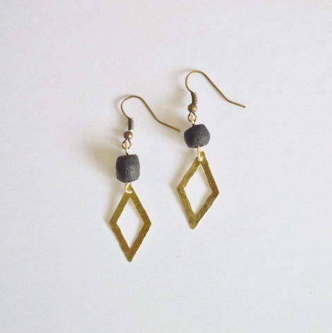 Dare To Be Your Own Person | Open Diamond Dangle Earrings | Brass - Alora Boutique - Jewelry with meaning that gives back fashion for good