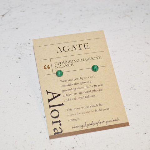 Grounding, Harmony, Balance | Stud Earrings | Green Agate Gemstone - Alora Boutique - Jewelry with meaning that gives back fashion for good