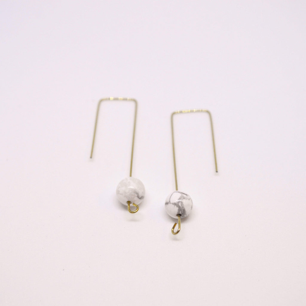 Clarity, Forgiveness, Relaxation | Geometric Earrings | Howlite Gemstone - Alora Boutique - Jewelry with meaning that gives back fashion for good