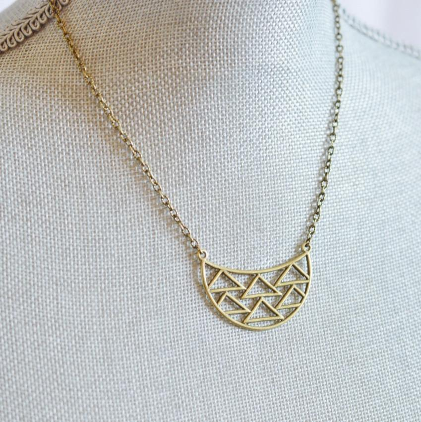 Dare to Be Your Own Person | Geometric Half Moon Necklace | Recycled Brass and Silver - Alora Boutique - Jewelry with meaning that gives back fashion for good