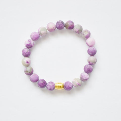 Awareness, Honesty and Inspiration | Beaded Stretch Bracelet | Matte Amethyst Gemstone - Alora Boutique - Jewelry with meaning that gives back fashion for good