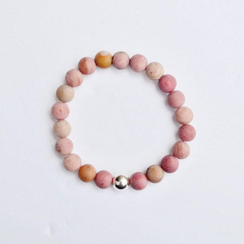 Bravery, Compassion and Forgiveness | Beaded Stretch Bracelet | Matte Rhodonite Gemstone - Alora Boutique - Jewelry with meaning that gives back fashion for good