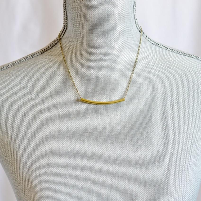 Balance | Delicate Crescent Bar Necklace | Brass - Alora Boutique - Jewelry with meaning that gives back fashion for good