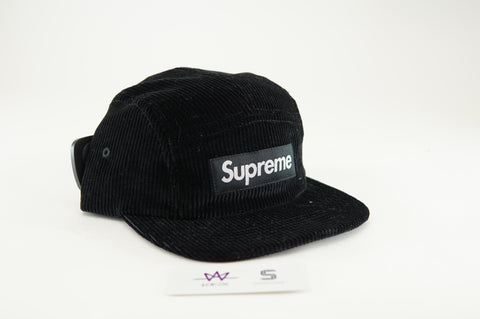 "SUPREME CORDUROY CAMP CAP ""BLACK"" - Sz O/S"