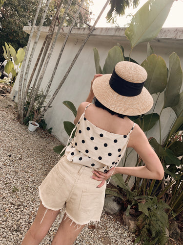 LINI BUBBLE DOT SLEEVELESS TOP CREAM WHITE