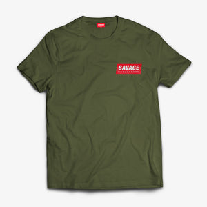 Military Green T-Shirt soft touch short sleeve Red Savage Motorsport Logo