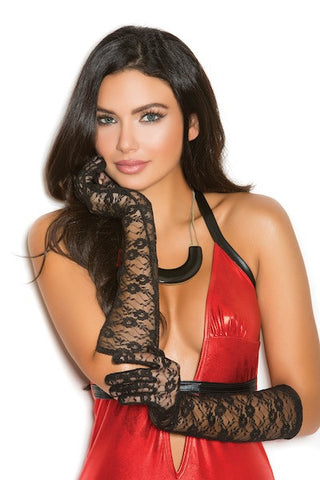 Elbow length lace gloves black - Gloves-Jewels - CurvynBeautiful
