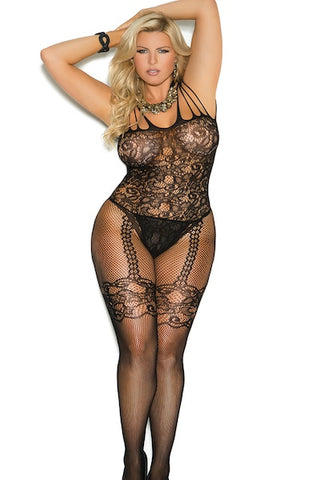 Fishnet and lace Bodystocking. - plus size bodystocking - CurvynBeautiful