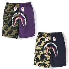 A bathing ape half 1st camo shark beach shorts