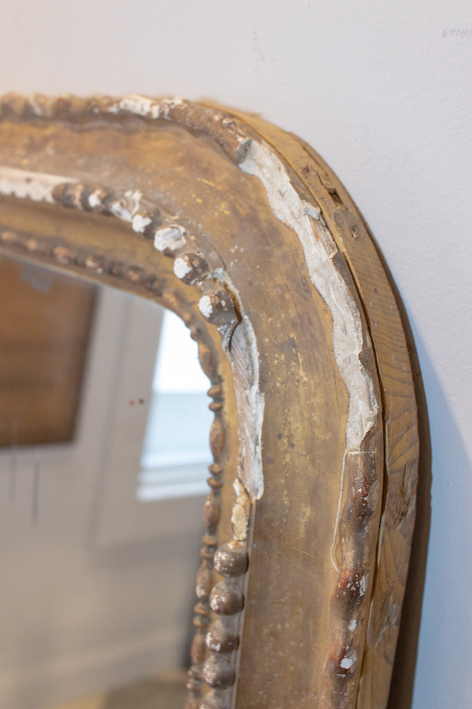 Distressed Antique French Gilt Frame Louis Philippe Mirror with Original Glass
