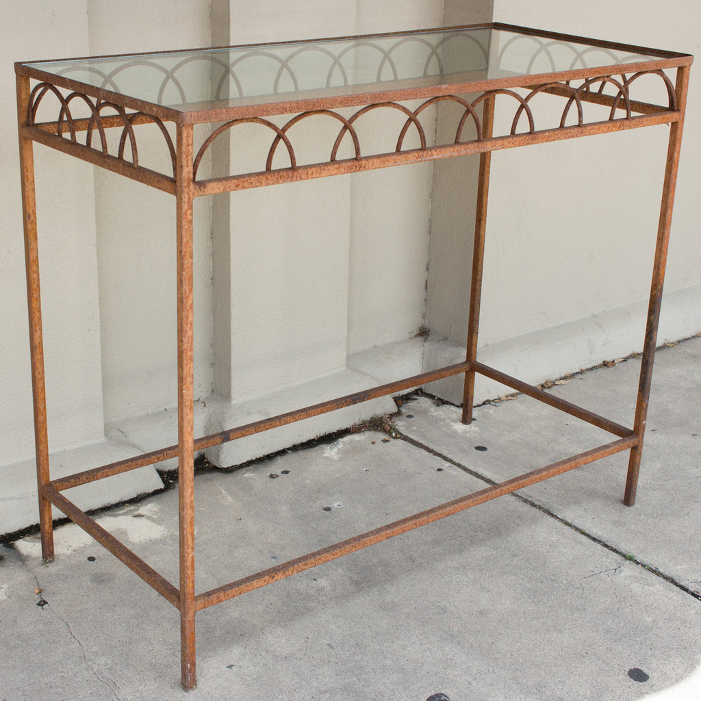 Antique French Iron & Glass Bar Height Console Table from a Parisian Flower Shop