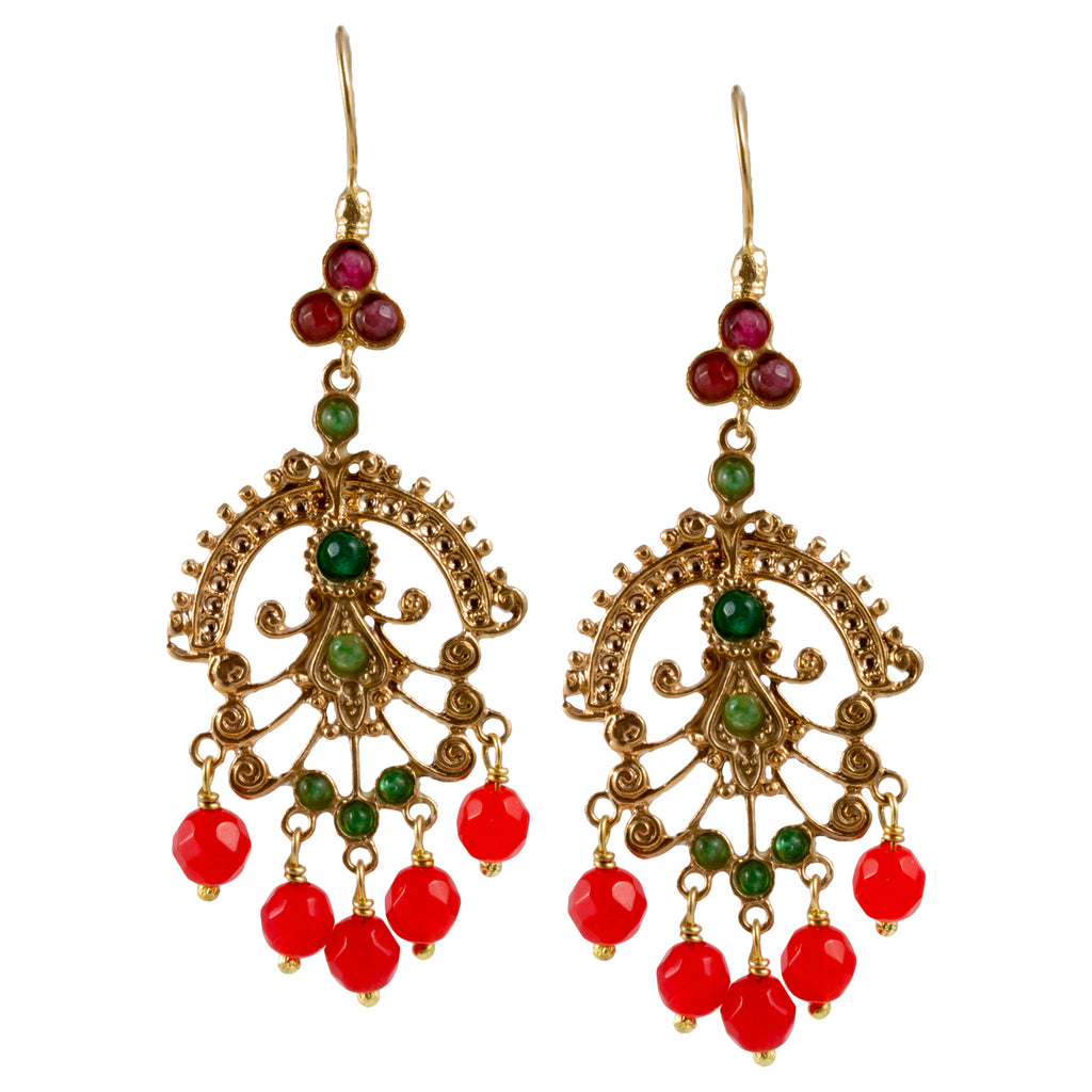 Turkish Delights Earrings: Chandelier Drops in Red & Green
