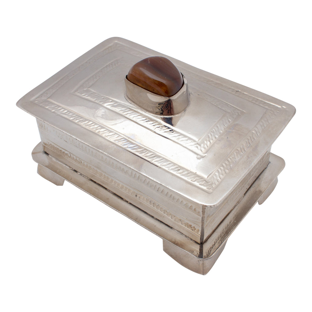 Hand Crafted Silver Box with Stone from San Miguel