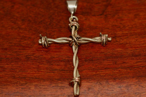 Barbed Wire Cross Pendant in Brass - Large