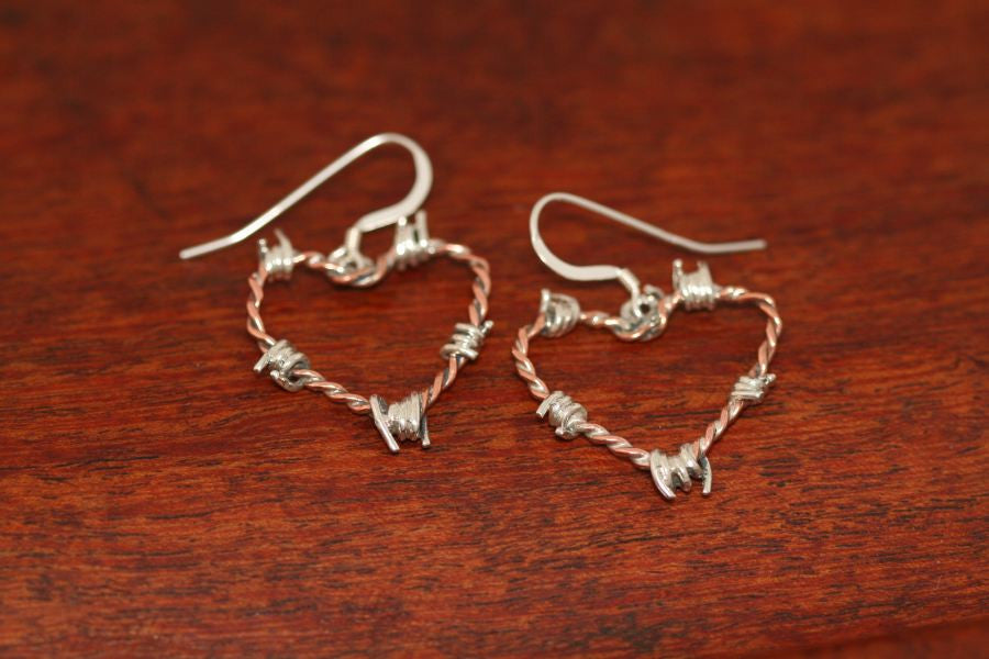 Barbed Wire Heart Earrings in Copper - Mini