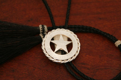 Cinco Peso Star Bolo with Rope Trim