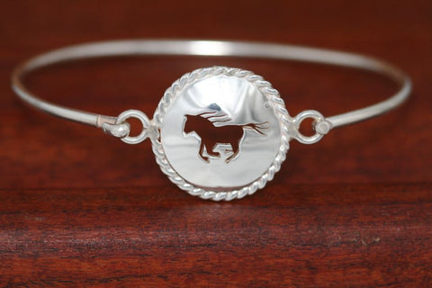 Large Running Horse Disc with Rope Trim -Charm on a Bangle Bracelet