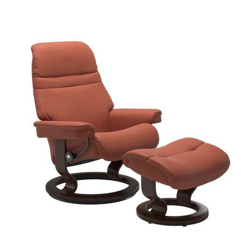 Stressless Sunrise Recliner Classic and Signature Base with Ottoman