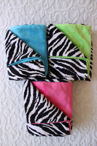 Electric Zebra Minky Blanket